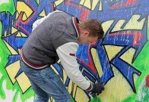 Graffitivägg på Stortorget i Södertälje